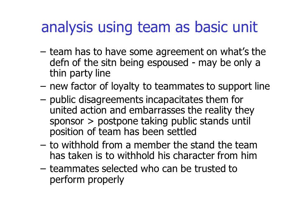 analysis using team as basic unit