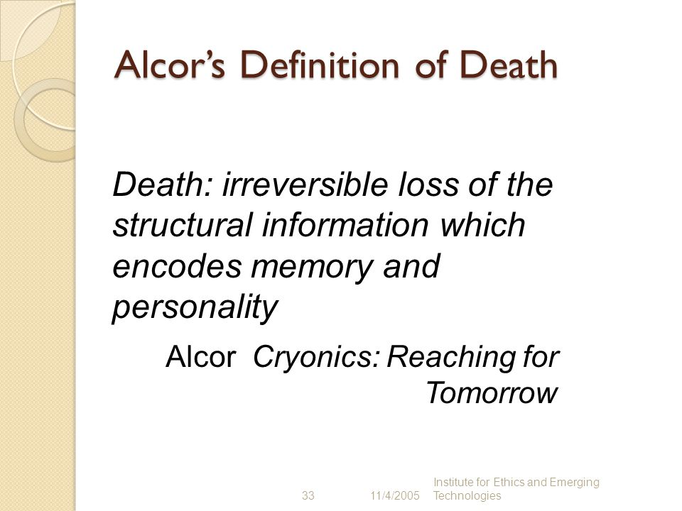 Alcor's Definition of Death