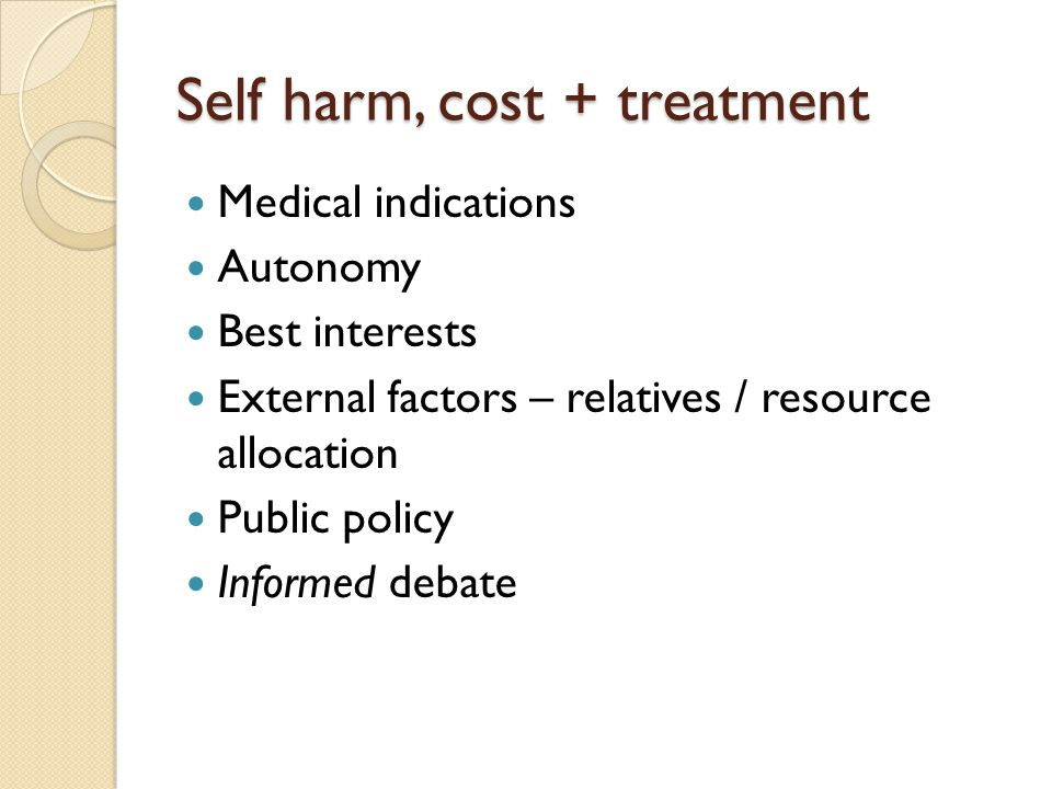 Self harm, cost + treatment