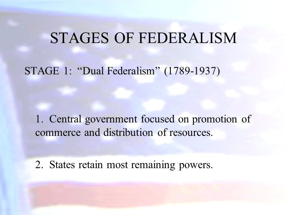 STAGES OF FEDERALISM STAGE 1: Dual Federalism (1789-1937)