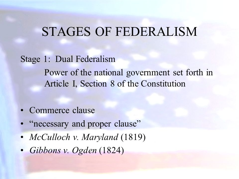 STAGES OF FEDERALISM Stage 1: Dual Federalism