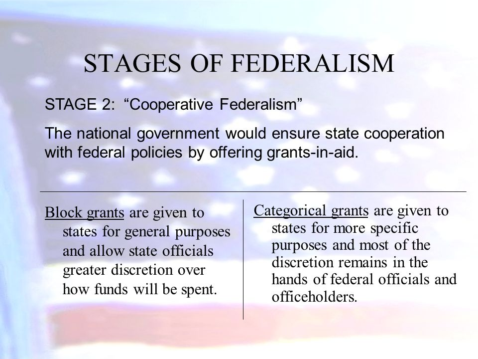 STAGES OF FEDERALISM STAGE 2: Cooperative Federalism
