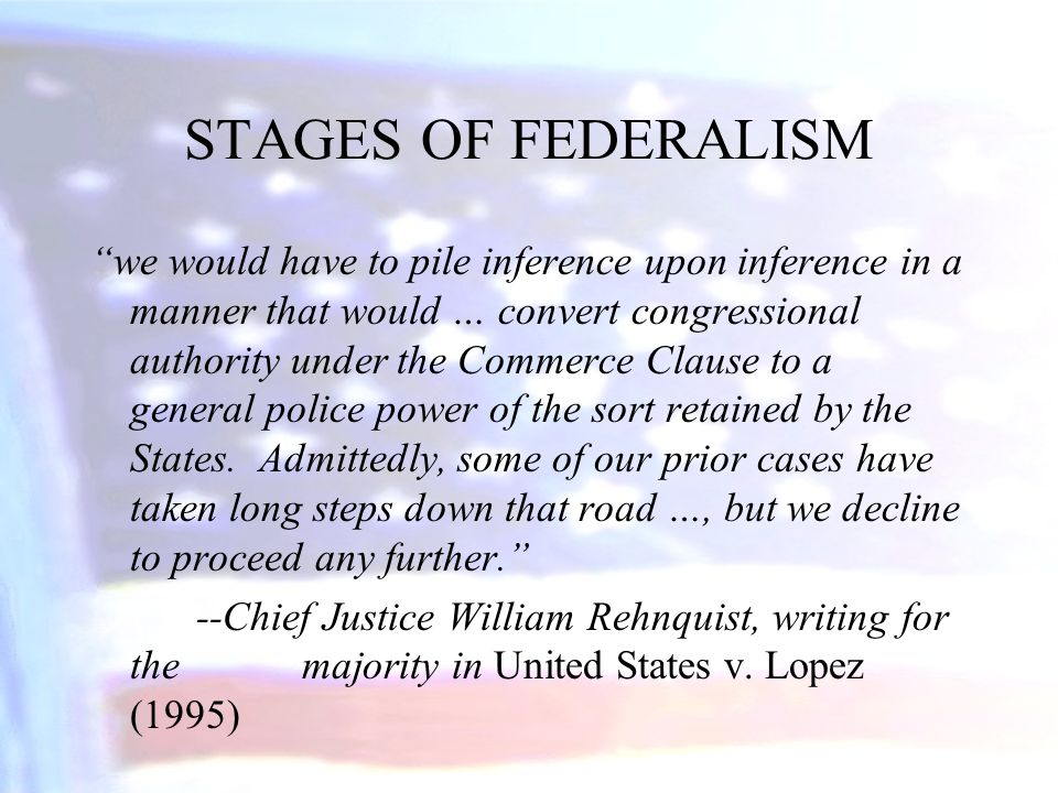STAGES OF FEDERALISM
