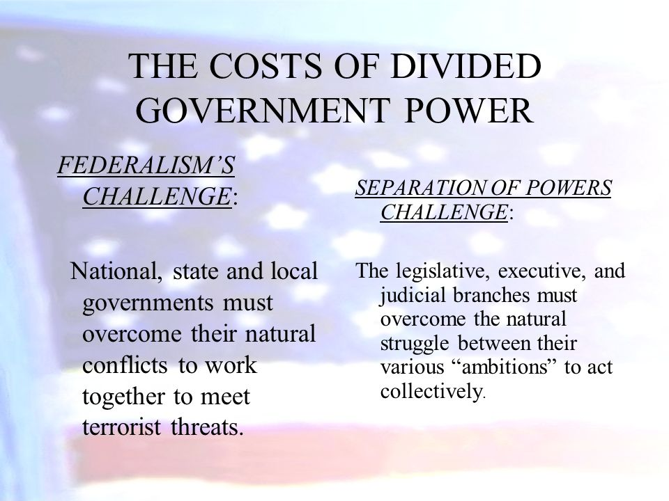 THE COSTS OF DIVIDED GOVERNMENT POWER