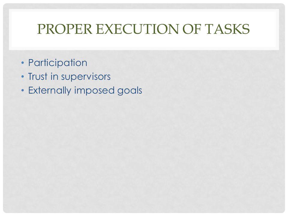 Proper execution of tasks