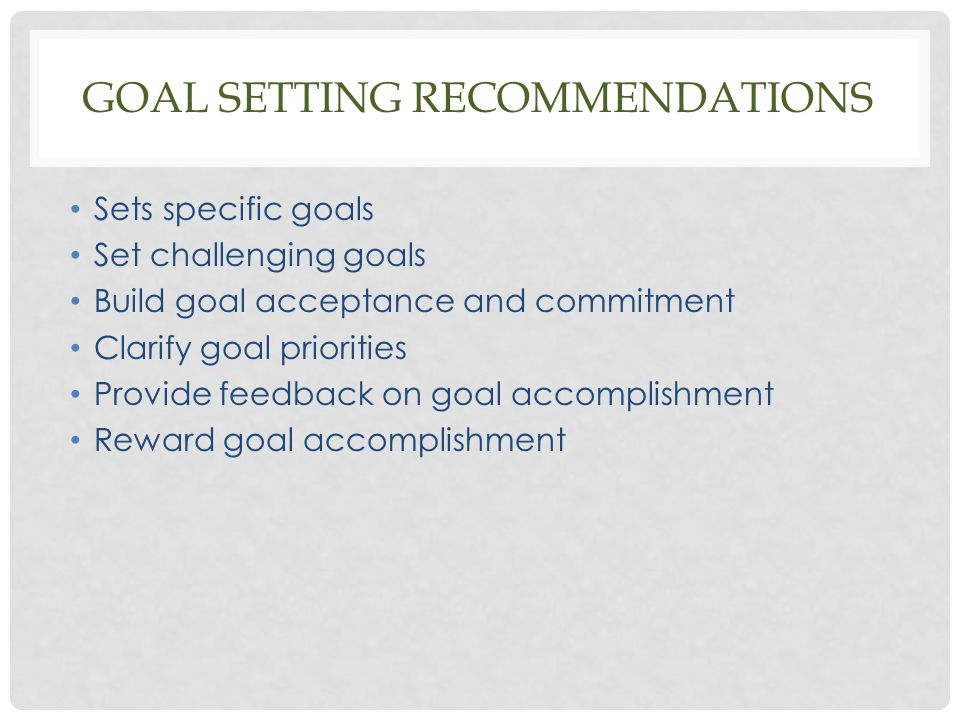 Goal setting recommendations
