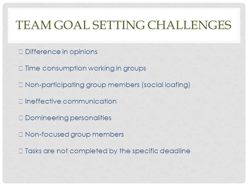 Team Goal setting challenges