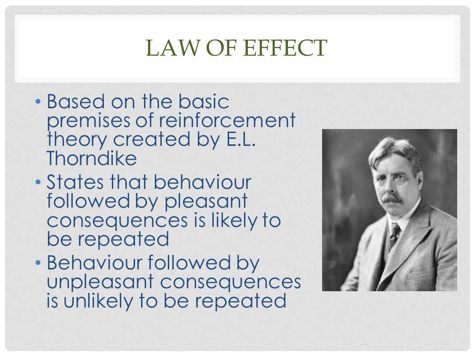 Law of effect Based on the basic premises of reinforcement theory created by E.L. Thorndike.