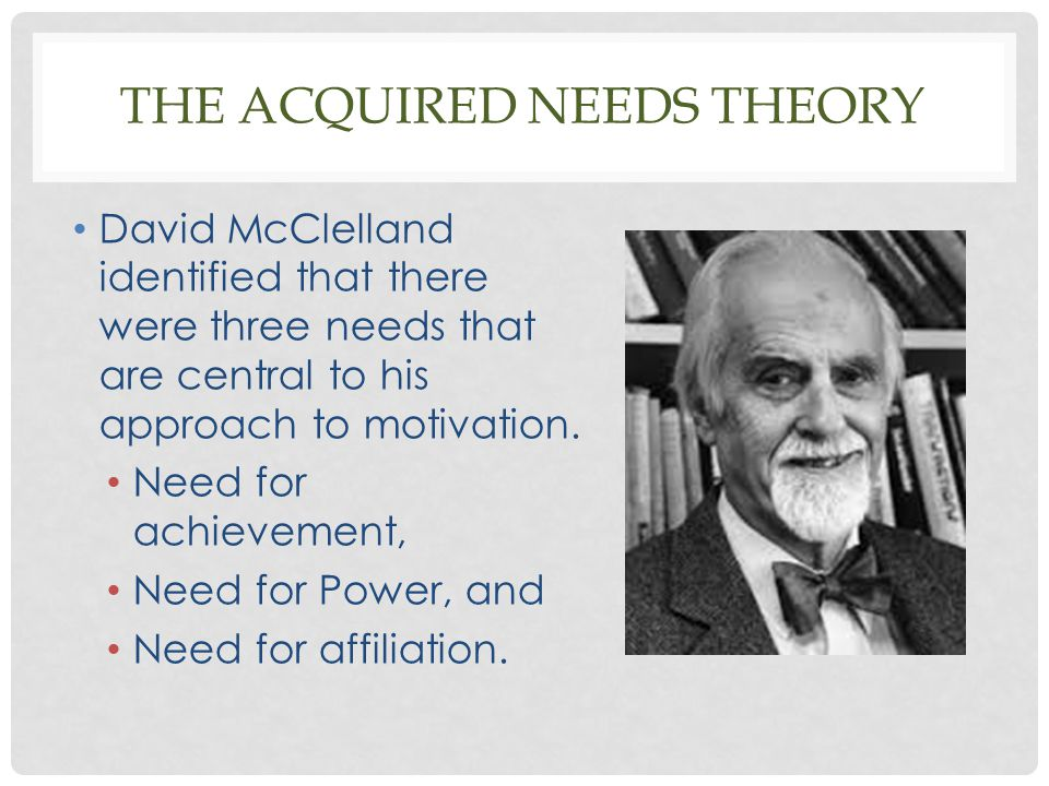 The acquired needs theory