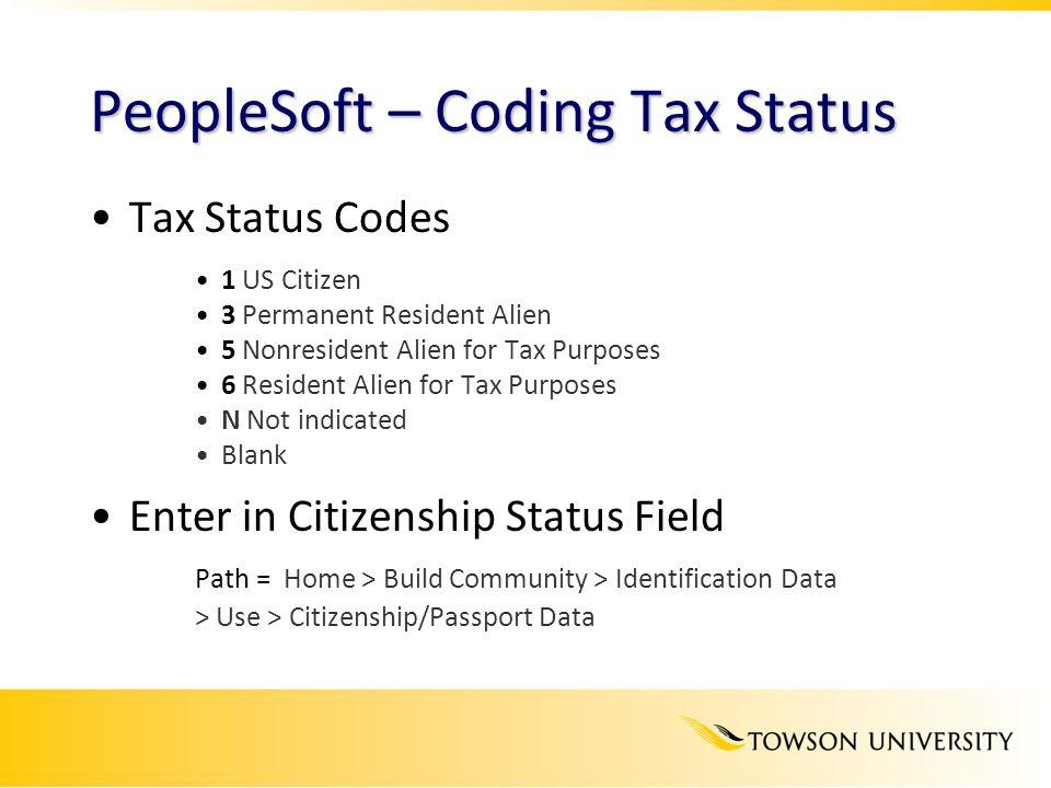 PeopleSoft – Coding Tax Status
