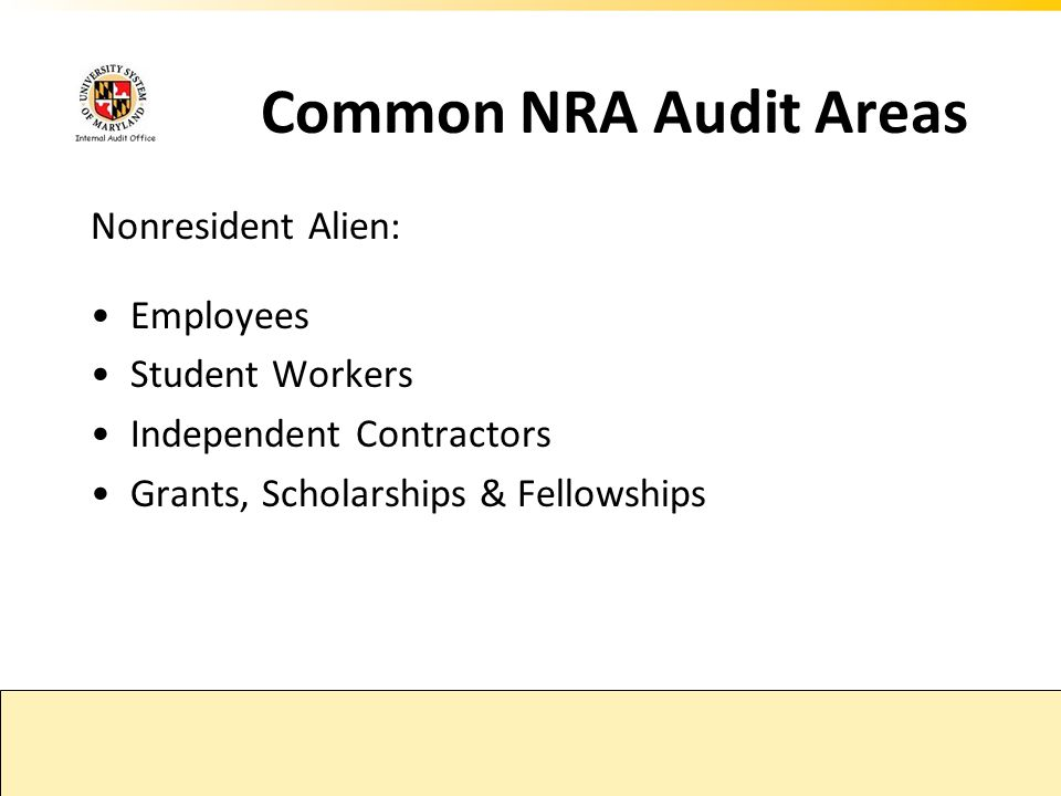 Common NRA Audit Areas Nonresident Alien: Employees Student Workers