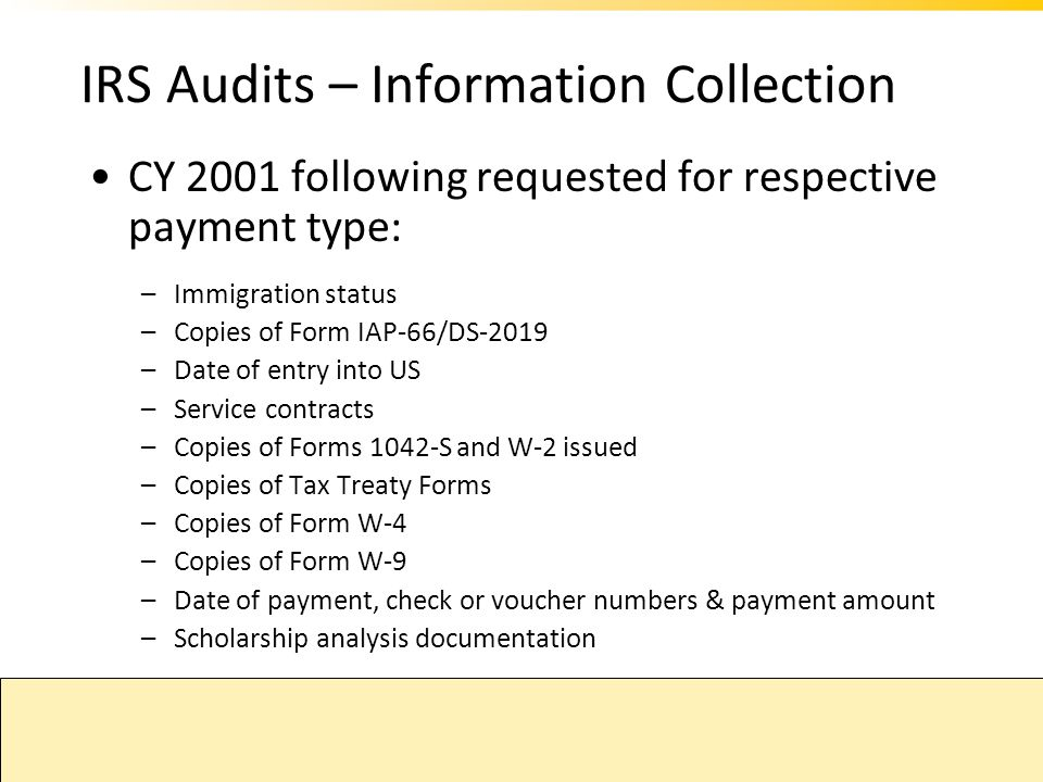 IRS Audits – Information Collection