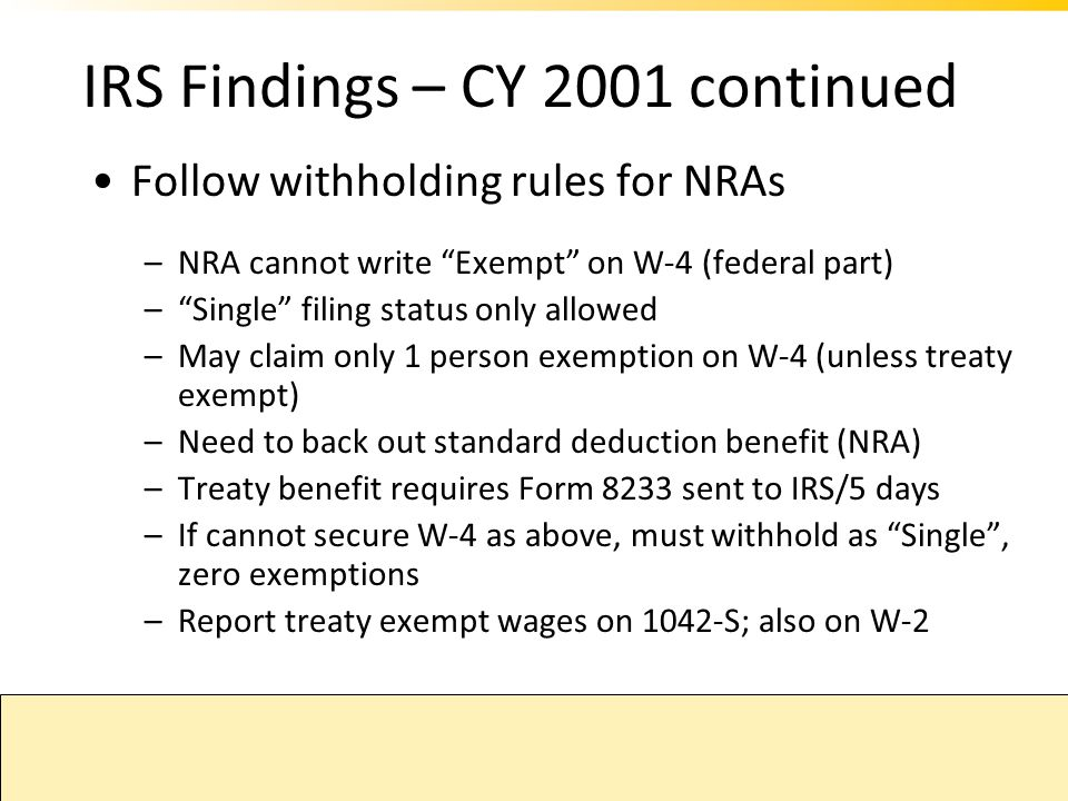 IRS Findings – CY 2001 continued