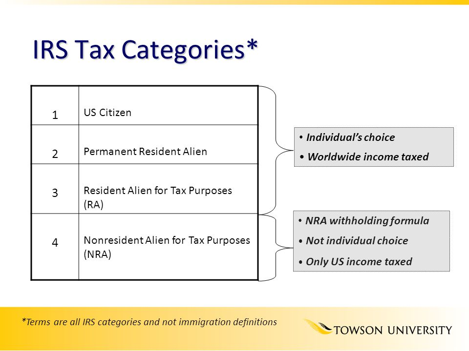 *Terms are all IRS categories and not immigration definitions