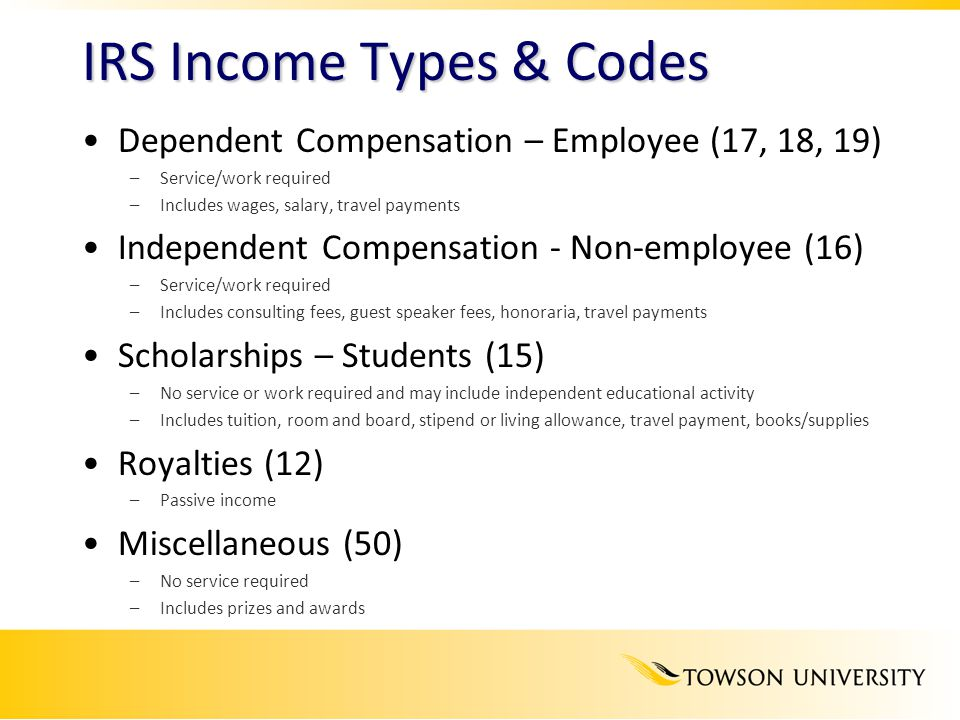 IRS Income Types & Codes