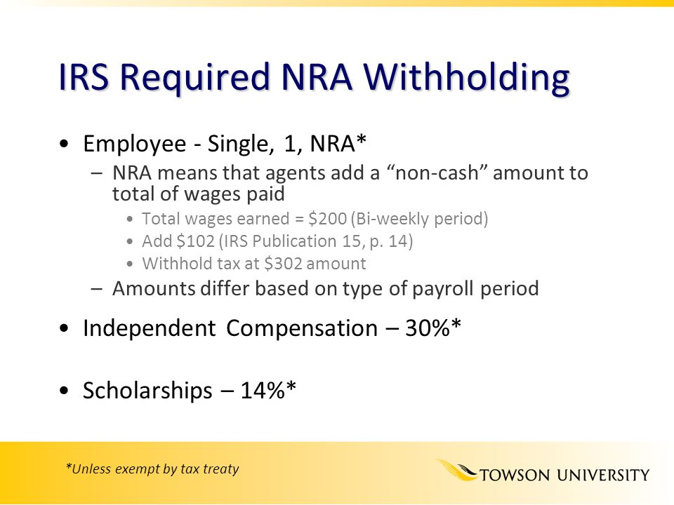 IRS Required NRA Withholding