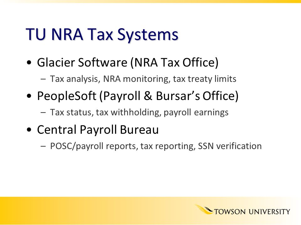 TU NRA Tax Systems Glacier Software (NRA Tax Office)