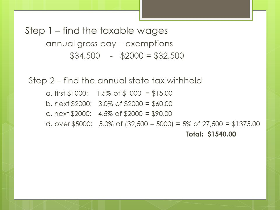 Step 1 – find the taxable wages