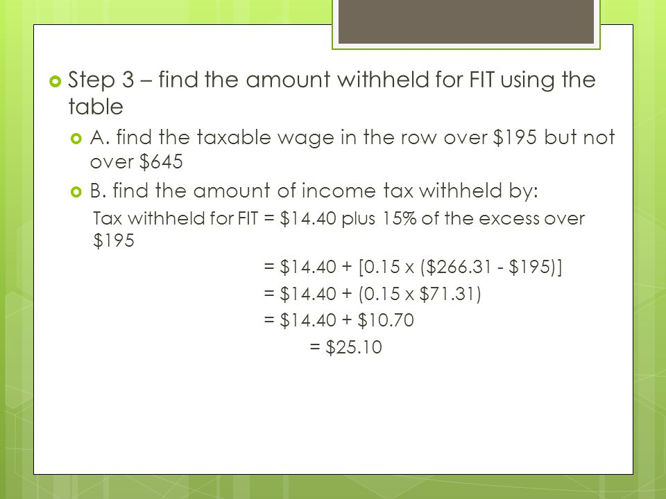 Step 3 – find the amount withheld for FIT using the table