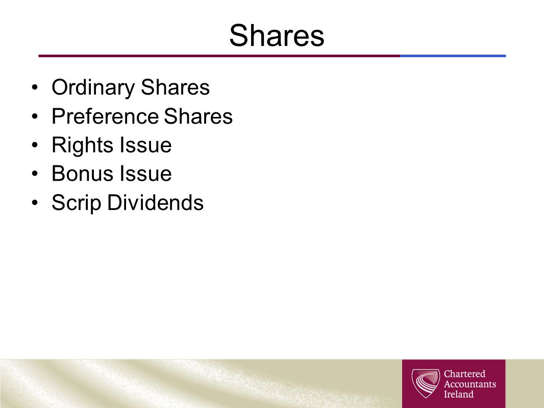 Shares Ordinary Shares Preference Shares Rights Issue Bonus Issue