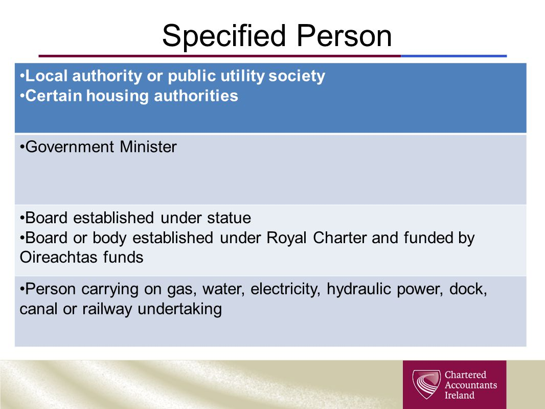 Specified Person Local authority or public utility society