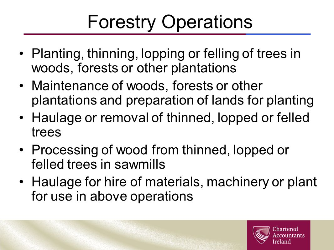 Forestry Operations Planting, thinning, lopping or felling of trees in woods, forests or other plantations.