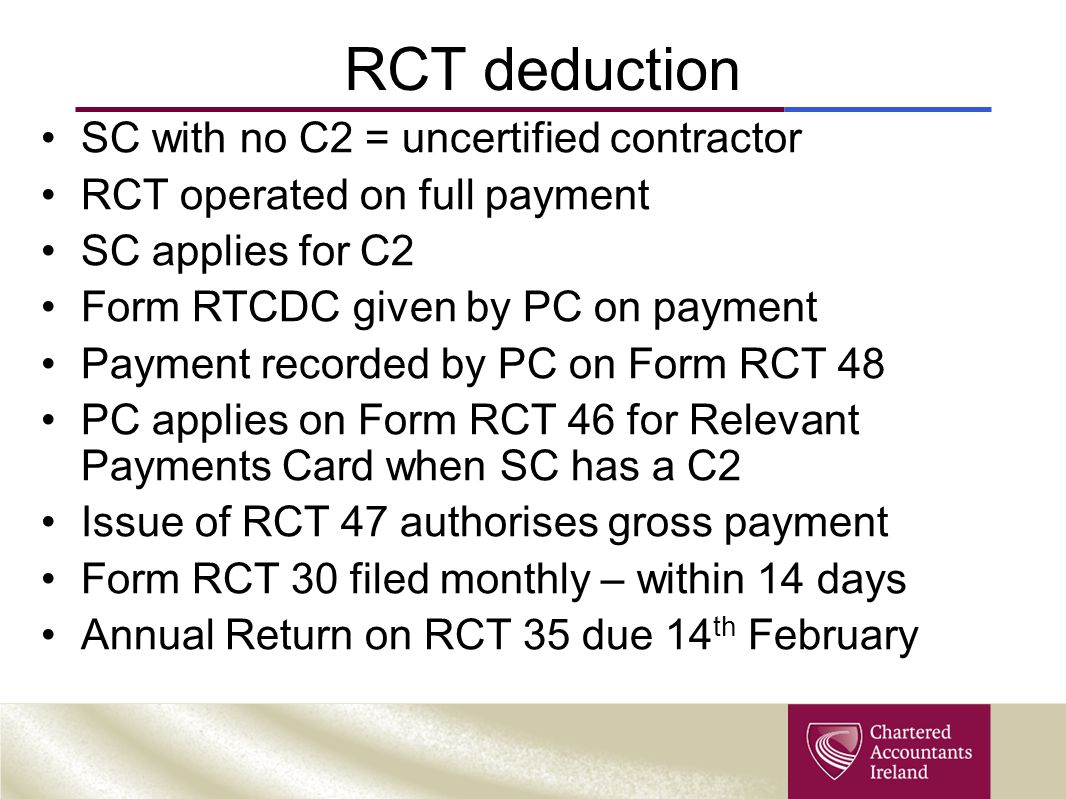 RCT deduction SC with no C2 = uncertified contractor