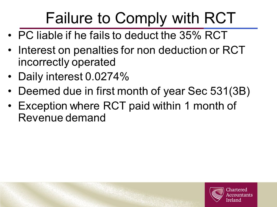 Failure to Comply with RCT