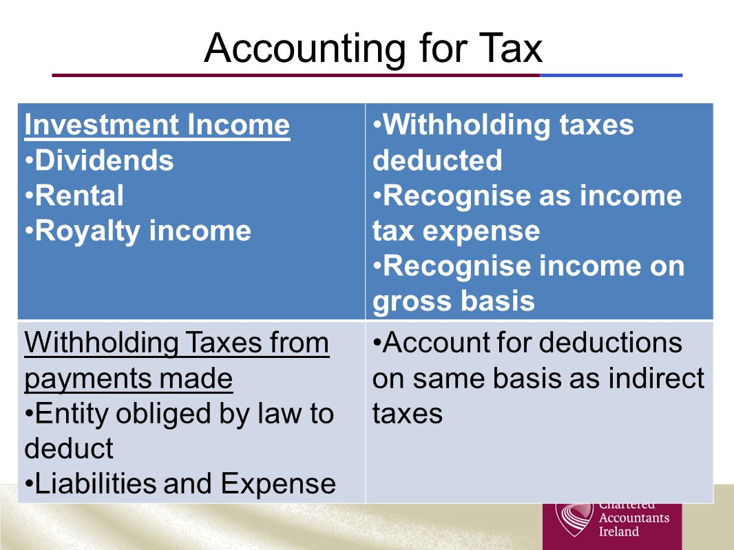 Accounting for Tax Investment Income Dividends Rental Royalty income