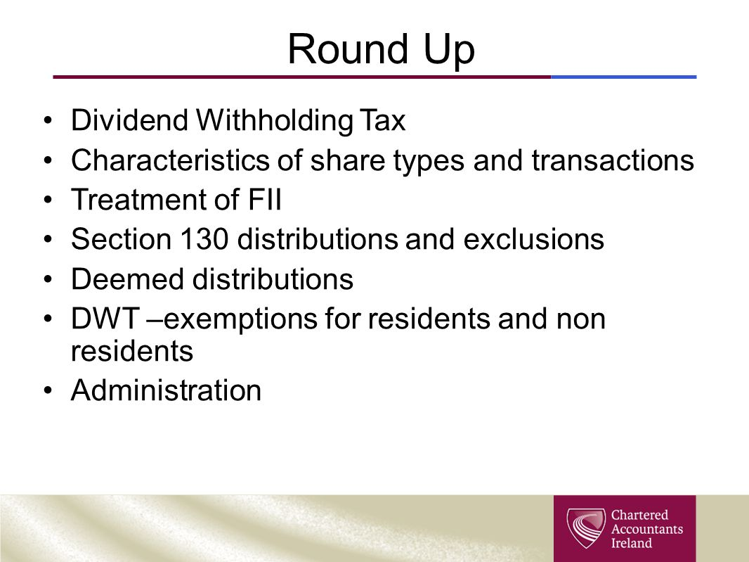 Round Up Dividend Withholding Tax