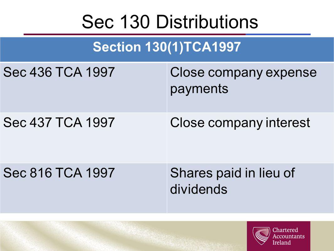 Sec 130 Distributions Section 130(1)TCA1997 Sec 436 TCA 1997
