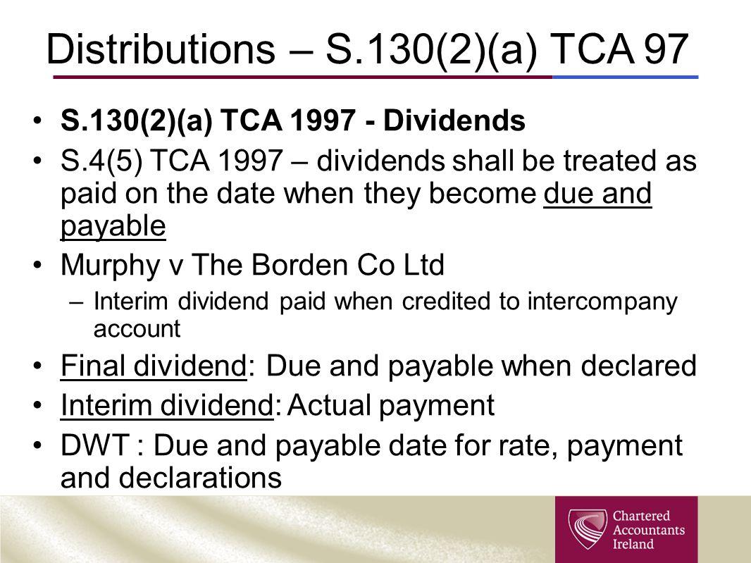 Distributions – S.130(2)(a) TCA 97