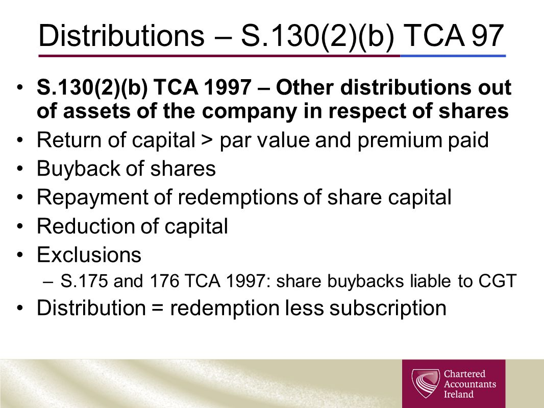 Distributions – S.130(2)(b) TCA 97