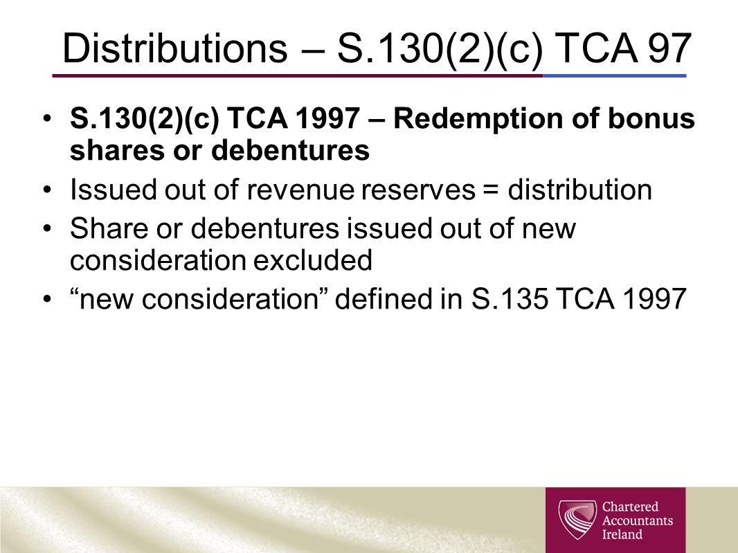 Distributions – S.130(2)(c) TCA 97