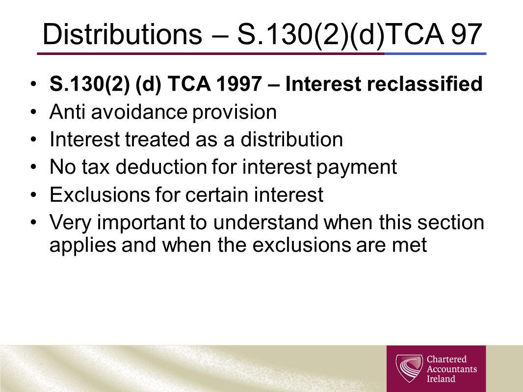 Distributions – S.130(2)(d)TCA 97