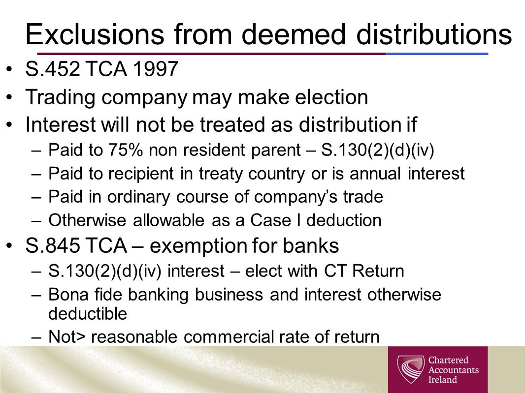 Exclusions from deemed distributions