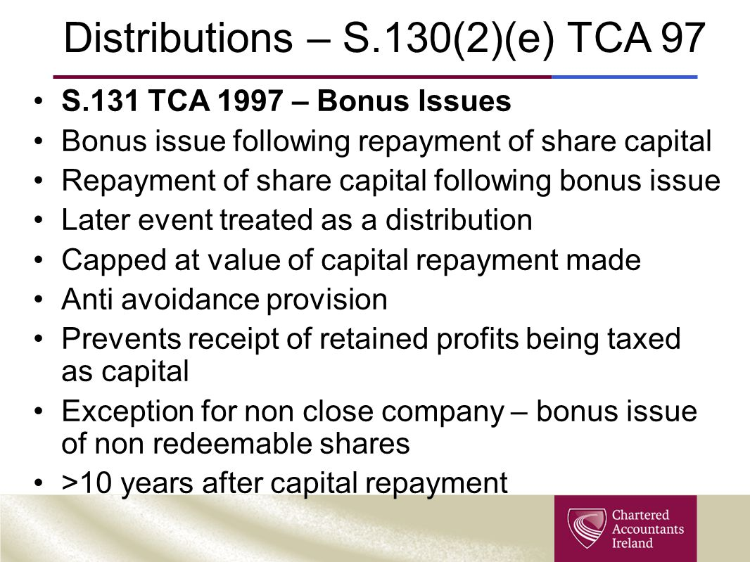 Distributions – S.130(2)(e) TCA 97