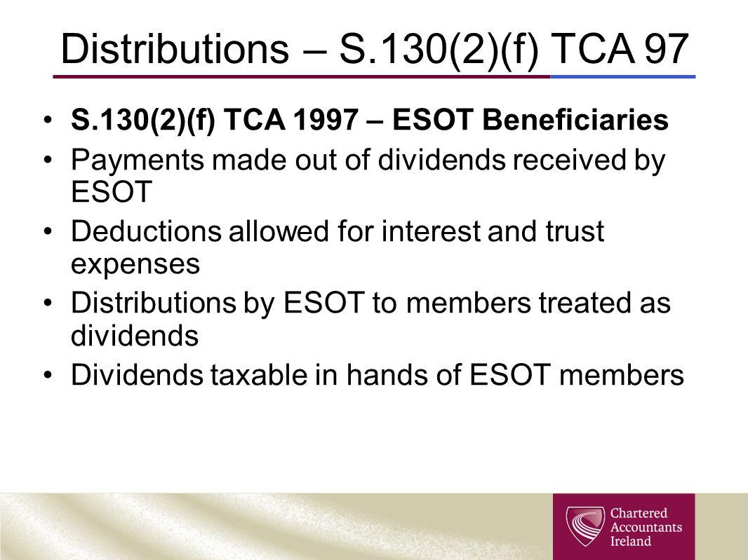 Distributions – S.130(2)(f) TCA 97