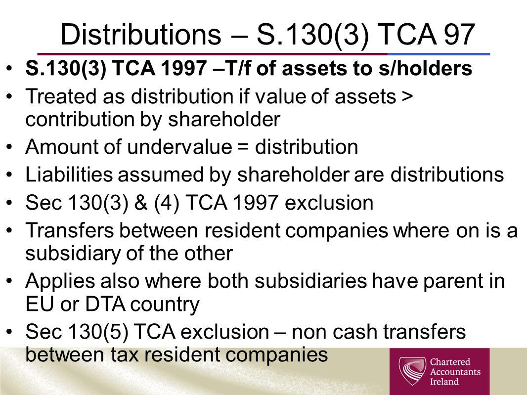 Distributions – S.130(3) TCA 97