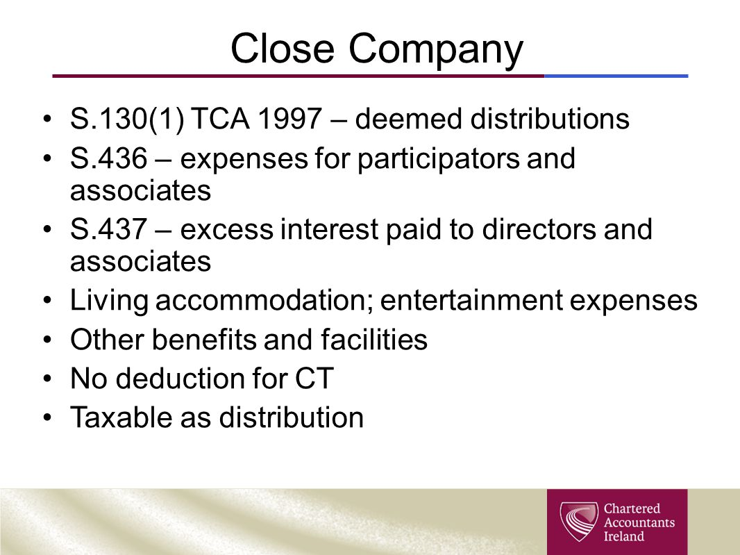 Close Company S.130(1) TCA 1997 – deemed distributions