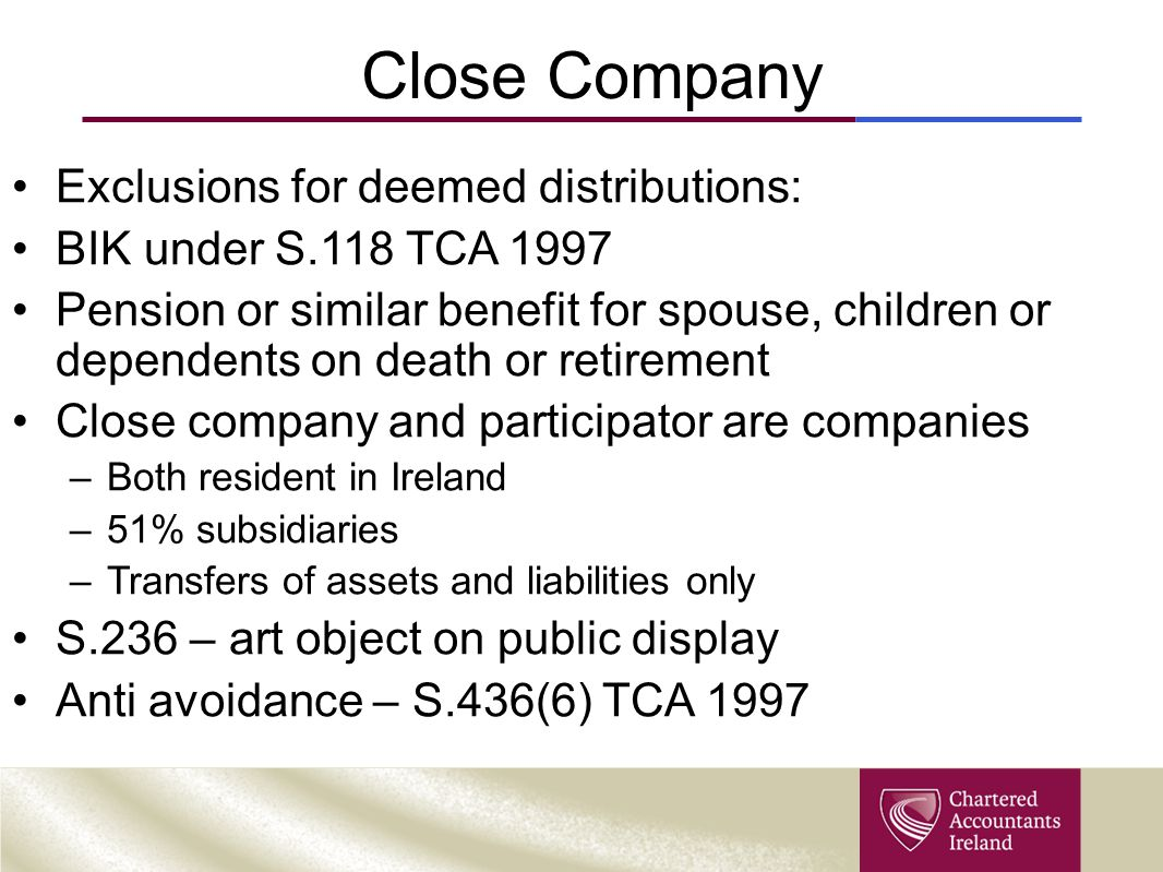 Close Company Exclusions for deemed distributions: