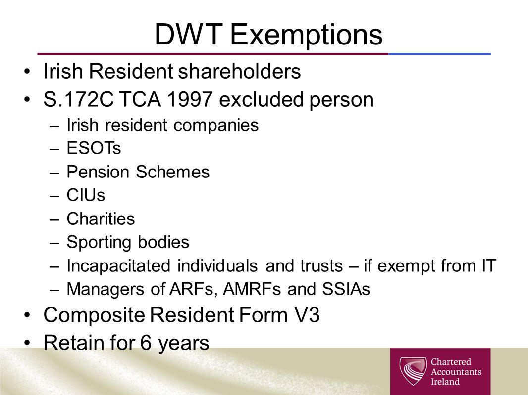 DWT Exemptions Irish Resident shareholders