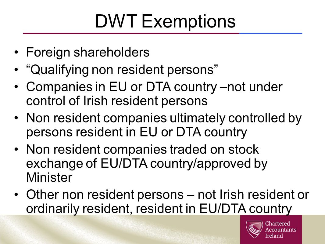 DWT Exemptions Foreign shareholders Qualifying non resident persons