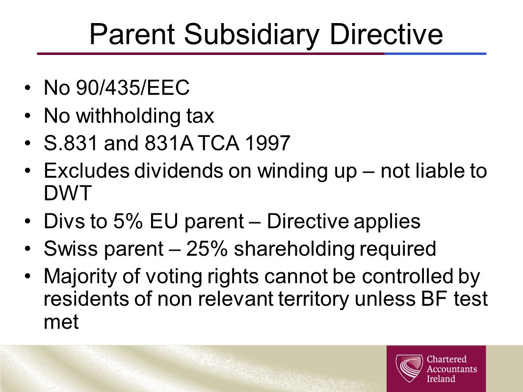 Parent Subsidiary Directive