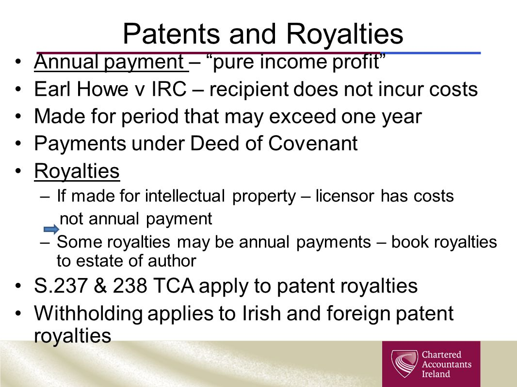 Patents and Royalties Annual payment – pure income profit
