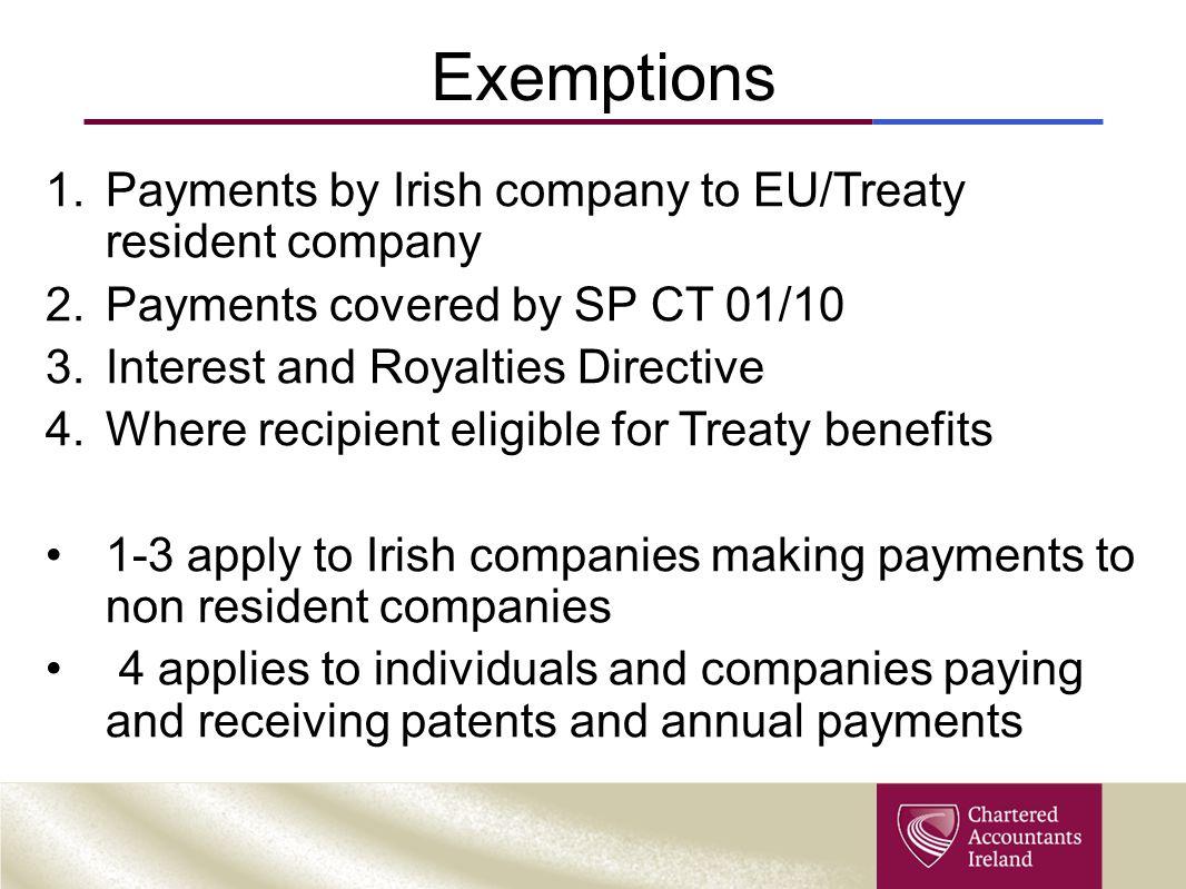 Exemptions Payments by Irish company to EU/Treaty resident company