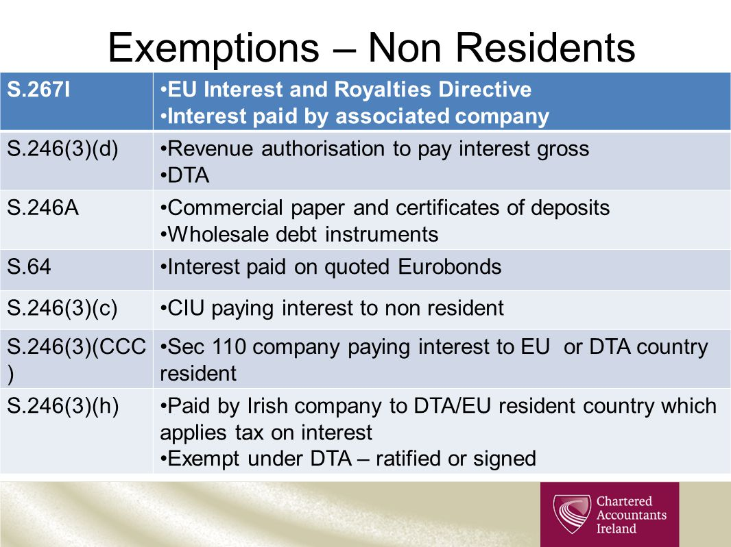 Exemptions – Non Residents