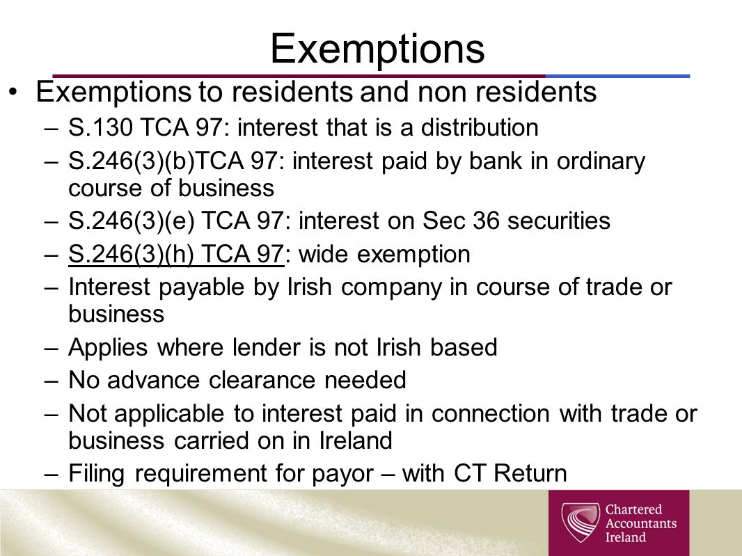 Exemptions Exemptions to residents and non residents