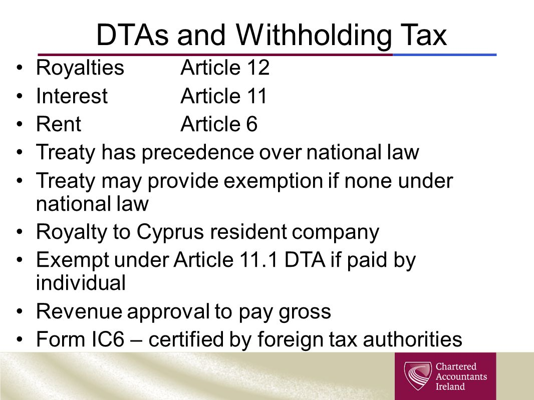DTAs and Withholding Tax