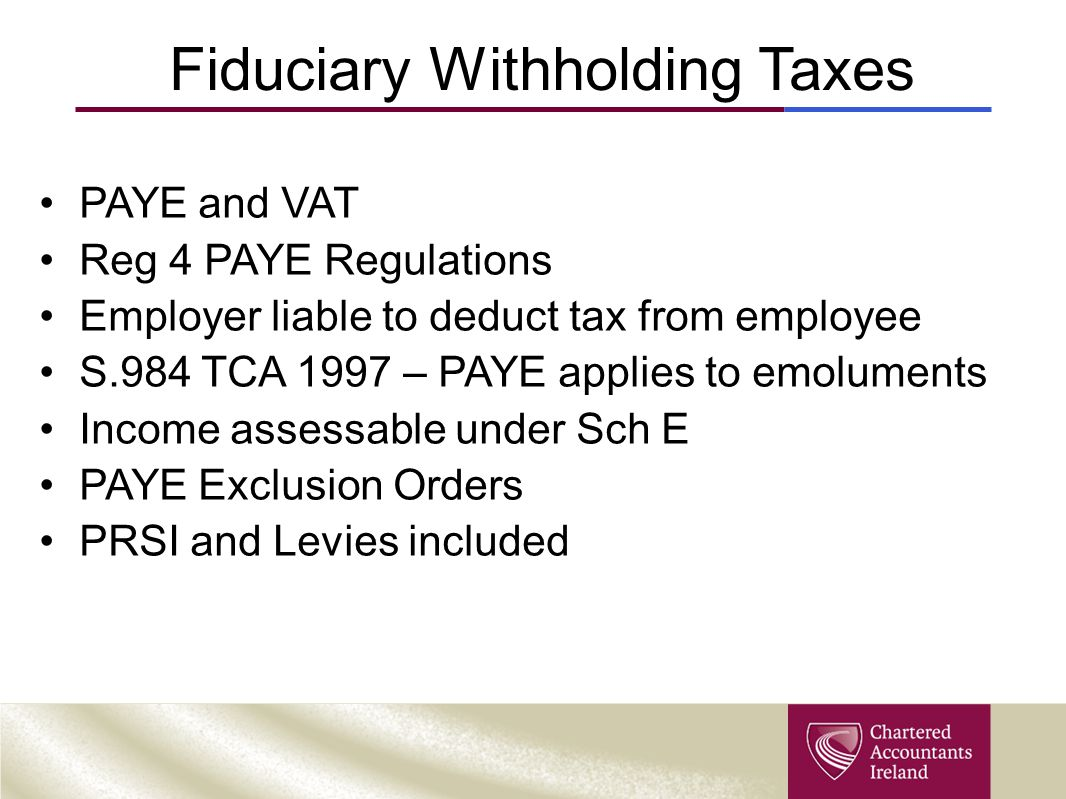Fiduciary Withholding Taxes